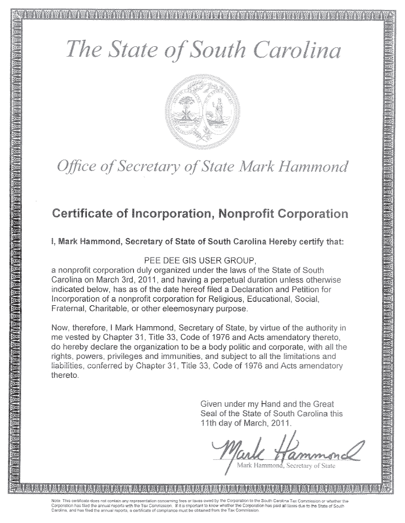 Pee Dee Gis Articles Of Incorporation Certificate Pee Dee Gis